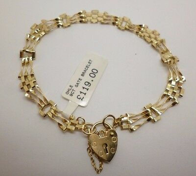 9ct yellow gold four bar design gate link bracelet with heart padlock fastener