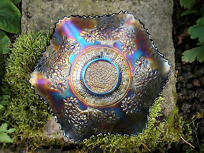 Fenton Orange Tree Carnival Glass Bowl~Electric Blue~Tree Trunk Center