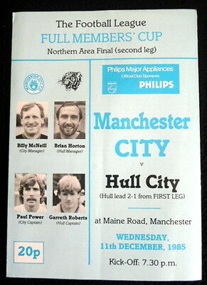 Manchester City v Hull City  Full  Members Cup northern area final 11-12-1985