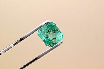 11mm 7.75 Carat Square Cut Natural Colombian Emerald Loose Gemstone