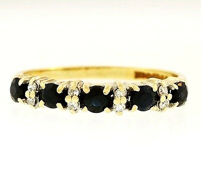 9Ct Yellow Gold Sapphire & Simulated Diamond Eternity Ring (Size L) 3mm Width