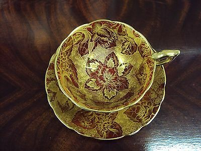 "Vintage Gold and Maroon ""Tapestry"" Royal Stafford Tea Cup & Saucer"