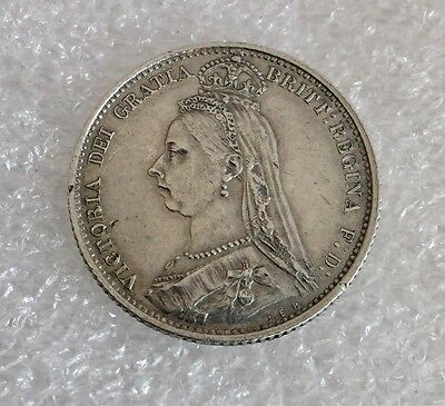 Excellent Condition 1887 Queen Victoria Jubilee Head Silver Sixpence Coin