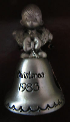 Precious Moments Christmas Bell 1983-New In Box #jy-239-Boy With Wreath-On Bell