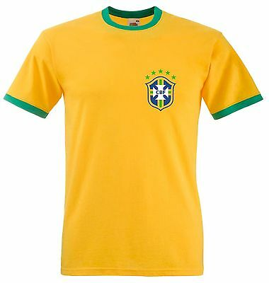 Retro Brazil Football T Shirt FOTL Ringer Tee