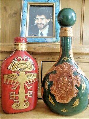 Two Vintage Unique Leather Covered Wine And Liquor Bottles~Empty