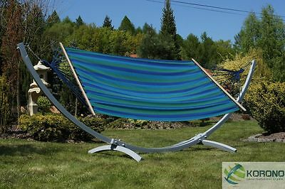 Self-supporting garden hammock with frame - blue or red - single or double