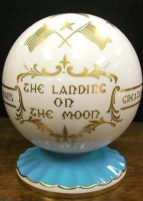 Beautiful 1969 Aynsley  Pedestal gold gilded Globe -The Landing on the Moon-MINT