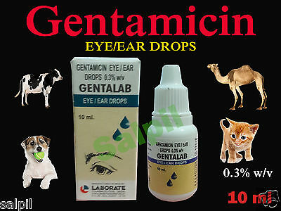 10ml Gentamicin Animals Eye / Ear Drops Dog Cattle Horse Sheep Goat Pig Camel