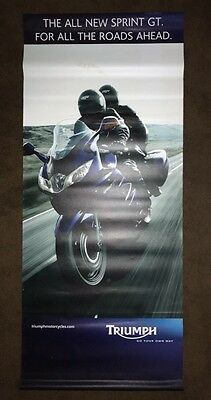 "TRIUMPH MOTORCYCLE BANNER DEALER PROMOTIONAL AD,  Sprint GT.  28"" X 65"""