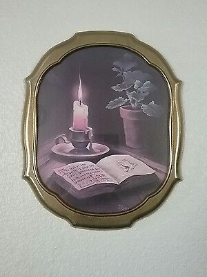"Vtg 16 x 13 Metal Framed Picture ""The Fruit Of The Spirit Is Love"" By J Ross"