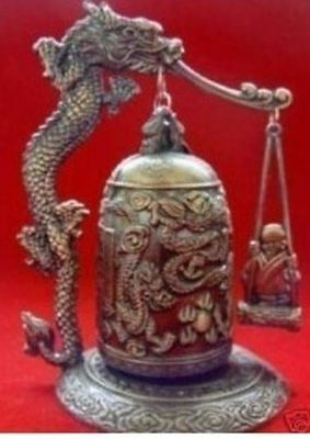 Exquisite Tibet Bronze Carved Dragon&buddha Bell new