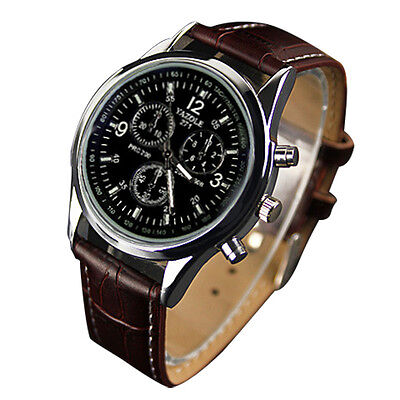 YAZOLE New Fashion Men's Date Leather Stainless Steel Military Sport Quartz