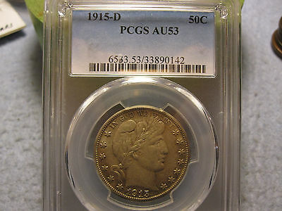 1915-D Barber Half Dollar PCGS Graded AU53 (Almosts Uncirculated Silver Half)
