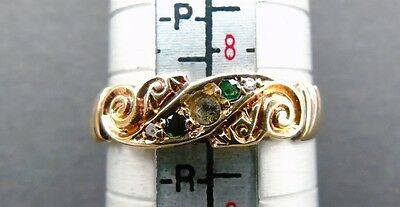 Antique Edwardian 18Ct Gold 5 Stone Set Scroll Design  Ring 1910 Size Q