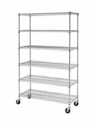 "72""H x 48""L x 18""D Chrome Commercial 6 Layer Shelf Adjustable Steel Wire Metal"