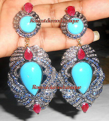 3.72ct ROSE CUT DIAMOND STERLING SILVER SAPPHIRE TURQUOISE RUBY DANGLE EARRINGS