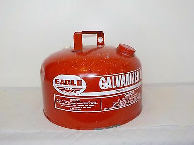 Vintage Eagle 2 1/2 Gallon Gasoline Can Galvanized Steel Model SP 2 1/2, Clean