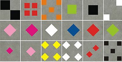 SQUARES Wall Art or Tile Stickers (decals) Many Colours, 3 x Sizes - waterproof