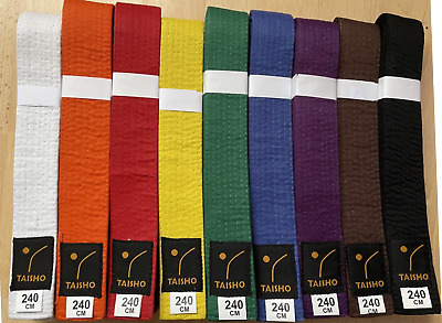 COLOURED BELTS (Plain)for Martial Arts, Judo, Karate, Kickboxing, MMA, Taekwondo
