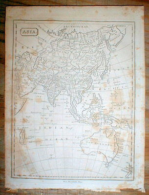 Rare original 1809 map showing AUSTRALIA New Zealand ASIA & ARCTIC 206 years ago