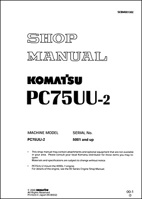 Komatsu PC75UU-2 Serial Number 5001 And Up Workshop Manual (0393)