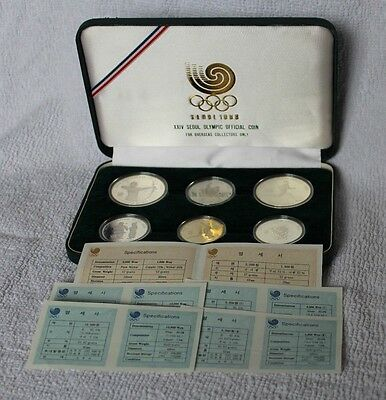 Rare 1988 Seoul Olympics Official Six Coin Set c/w COA's - Four Solid Silver