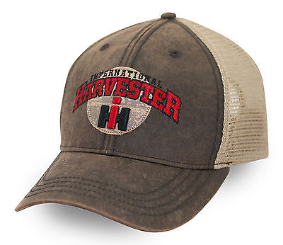 INTERNATIONAL HARVESTER *WAXY COTTON & GOLD MESH * LOGO Hat Cap NEW! IH96