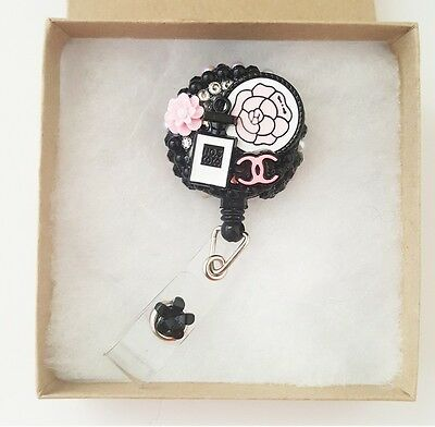 Pink Black Designer Perfume badge reel handmade ID holder nurse lanyard bling