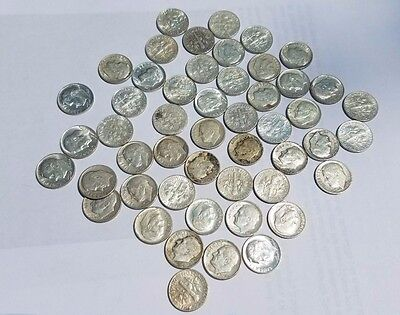 $5 FDR Dimes 90% Silver - 50 coin roll (circulated)