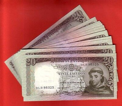PORTUGAL - 25x BANKNOTE 20$00 CH.7 1964 - CONSECUTIVE NUMBERS - UNC