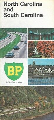1969 BP OIL Road Map NORTH & SOUTH CAROLINA Charlotte Charleston Winston-Salem