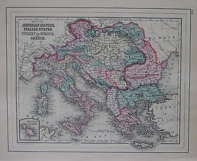 Original 1887 Map AUSTRIAN EMPIRE Malta Greece Italy Bosnia Croatia Transylvania