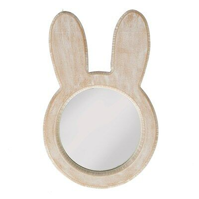 Sass&Belle BUNNY FACE RUSTIC WOOD MIRROR WHITE