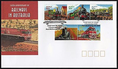 Australia 2004 Railways In Australia  Fdc