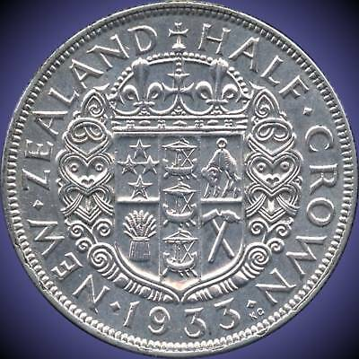 1933 New Zealand 1/2 Crown Silver Coin (14.14 Grams .500 Silver)