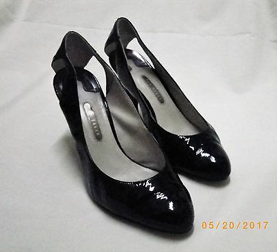 VINTAGE Ladies TED BAKER Black Patent Leather Shoes, Slingback Court Shoe Size 7