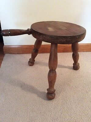 Vintage 3 Leg Wooden Milking Stool with Handle - Farmhouse Decor