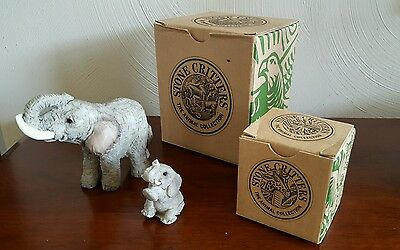 Stone Critters Animal Collection - Elephant With Trunk Up And Baby Elephant