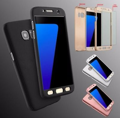 CASE For Samsung Galaxy S6 S7 S8 S9 Hybrid 360° Hard Full Cover + Tempered Glass