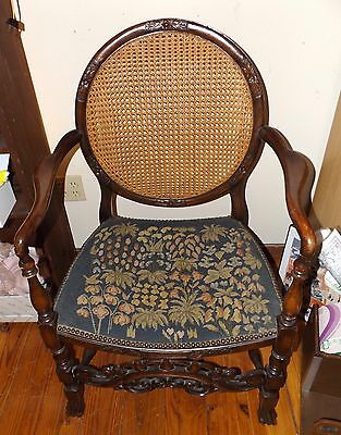 Unusual Tudor Revival Walnut Arm Chair with Cane and Needlepoint