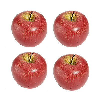 4 Large Artificial Red Apples Decorative Fruit
