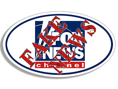 3x5 inch Oval FOX NEWS CHANNEL Stamped with FAKE NEWS Bumper Sticker - anti stop