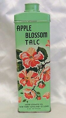 Vintage Apple Blossom Talc Powder Tin & Cap Full 6 Oz Motif Cosmetic Co Ny