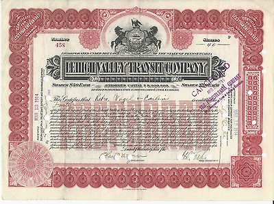 1914 LEHIGH VALLEY TRANSIT COMPANY Stock Certificate PENNSYLVANIA pay cancer bil