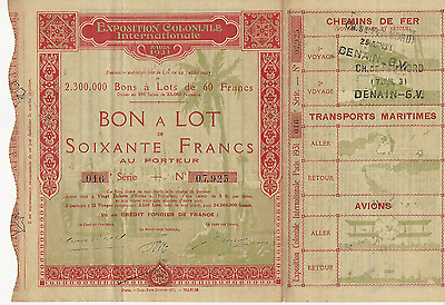 1927 EXPOSITION COLONIALE INTERNATIONALE Paris Lottery Bearer Bond FRANCE 60fran
