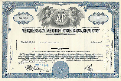 1966 THE GREAT ATLANTIC & PACIFIC TEA COMPANY A&P Stock Certificate Maryland