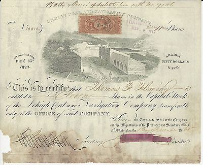 1865 THE LEHIGH COAL AND NAVIGATION COMPANY STOCK CERTIFICATE * Pays Cancer Bill