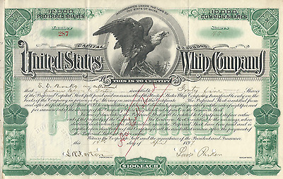 1897 UNITED STATES WHIP COMPANY Stock Certificate MAINE Horse Pay my cancer bill