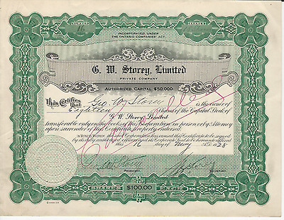 1928 G W STOREY LIMITED Stock Certificate ONTARIO CANADA WW1 War Stamp Tax Stamp